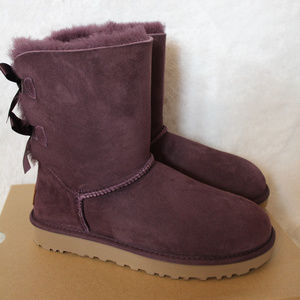UGG CLASSIC SHORT BAILEY BOW BOOTS PORT 7